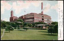 WASHINGTON DC Bureau Engraving & Printing Antique Glitter Postcard Vtg Wash PC