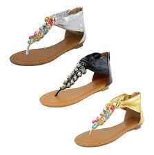 S450 - donna zeppa bassa DIAMANTE GIOIELLO sandali alluce FUORI ZIP - UK 3 - 8