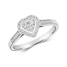 9ct White Gold Diamond Heart Ring