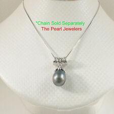 925 Silver Crown-Bail Genuine Black Blue Baroque Tahitian Pearl Pendant TPJ
