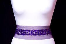 Purple Rhinestones Beaded insertion Trim Strip on Purple Net Backing