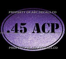 VRS Gun OVAL Ammo 45 ACP AUTO AUTOMATIC Pistol Handgun Bullets CAR METAL DECAL