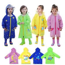 Enfants Imperméable Hooded Rainwear Poncho Zipper Lighweight Rain Coat