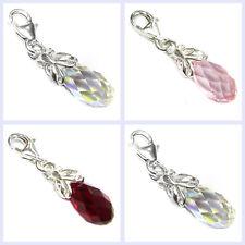 Sterling Silver Swarovski Element Crystal Butterfly Teardrop European Bead Charm