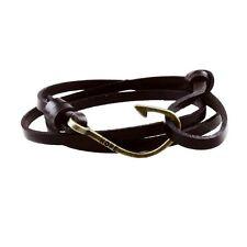 Rope Mens Womens Bracelet Wristband #B312 Genuine Leather Fish Hook Wrap Cuff