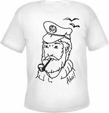 Marinero Camiseta - Negro O Blanco - S hasta 3xl - Capitán Gaviotas AHOI