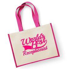 World's Best réceptionniste Cadeau Jute Shopping Cabas Sac