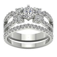 Bridal Matching Wedding Natural Diamond Ring I1 H 2.00Ct 14K Solid Gold SZ 4-12
