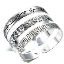 Jewelry Thailand 925 Sterling Silver Lotus Scripture Open Bangles Punk Bracelets