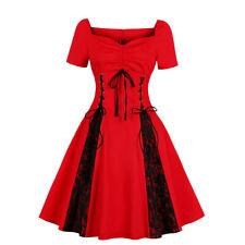 Plus Size Women Ladies Vintage Lace Xmas Skater Party Rockabilly Gothic Dress UK