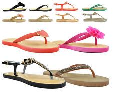 Señoras para mujer Plana Slip On Sandalias puntera abierta Post Jelly Flip Flop Zapatillas Tamaño