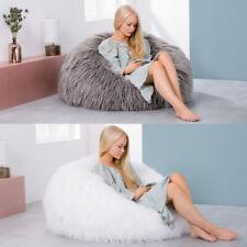 X Large Luxury Faux Fur Bean Bag Chair Mongolian Fur Classic Beanbag White Grey