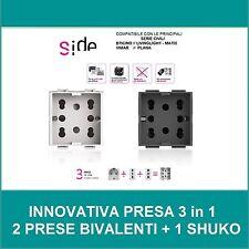 PRESA SCHUKO BIPASSO BIVALENTE  4box Side PER SERIE  BITICINO VIMAR GEWISS 3in1