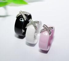 KERAMIK Ring STRASS silber Fingerring weiß schwarz rosa 8mm LUXUS +++ AUSWAHL