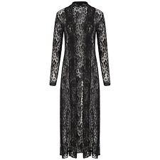 LadiesFloral Lace Mesh Crochet Kimono Long Sleeve Maxi Boyfriend Cardigan