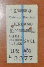 BIGLIETTO TRENO - FERROVIE - TRAIN TICKET - 1976 - PADERNO ROBBIATE/BERGAMO (B1)