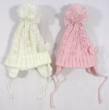 Baby bambini ragazze a Maglia Cappello Invernale Bobble POM POM Orecchie Flap Legare Rosa 092
