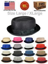 FABRIC PORK PIE PORKPIE FEDORA UPTURN SHORT BRIM CAP HAT CAP LARGE / XLARGE