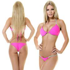 Push up Bikini  Strass Neon Pink gefüttert Bügel Strassketten  BH Beach Bademode