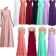 Formal Dress Women's Chiffon Wedding Bridesmaid Long Maxi Evening Prom Gown - UK