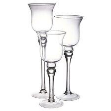 Set of 3 Tall Glass Candle Holders Large Centerpiece Tea-Light Hurricane Wedding
