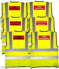 FIRE MARSHAL HI VIS VEST EVACUATION MARSHAL FIRE WARDEN WAISTCOAT EN471 Workwear