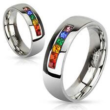 Anillo Acero Inoxidable Rainbow Arco iris Circonia Pride multicolor piedras