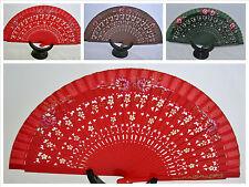 Spanish flamenco wood hand decorated dance fan eventail fächers ventagli abanico