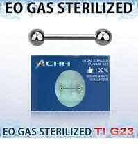 "Sterilized G23 Titanium Tongue Ring & Nipple Ring Barbells 14G 5/8"" 3/4"""