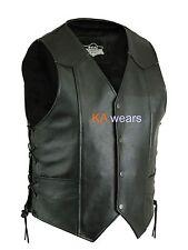 Biker Leather Waistcoat Real Black Cowhide  Button Side Laced Side Pocket Vest