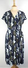 NEXT  Jersey Print Wrap Dress 3/4 Sleeve V Neck Multi Tie Waist Side