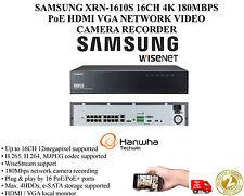 SAMSUNG XRN-1610S 16CH 4K 180MBPS PoE HDMI VGA NETWORK VIDEO CAMERA RECORDER