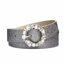 Steve Madden Womens Imitation Pearl & Rhinestone Metallic Belt