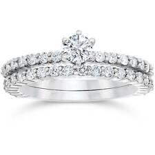 1 ct Diamond Engagement Matching Wedding Ring Set White Gold Solitaire Jewelry
