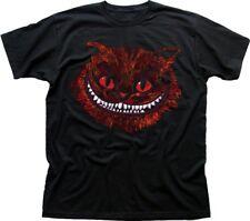 Evil Cheshire Cat Alice in Wonderland All Mad Here Hatter T-shirt noir 9583