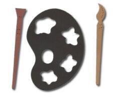 ARTIST PALLETT & BRUSHES 8x6cm die cut shapes card making crafts