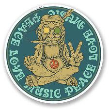 2 x 10cm Peace Love Music Sticker Decal Symbol Hippy Marijuana Weed Camper #6032