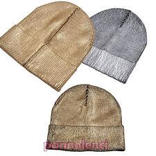 Sombrero de mujer tejido punto suéter metalizada invierno gorra nuevo M-1117