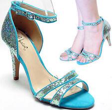 New women's shoes open toe evening stilettos aqua blue glitter ankle strap party