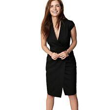 Next Women Black Tailored Fit Wrap Dress Ladies Work Office Business Suit Dress