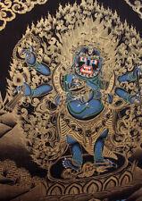 Black Mahankal Deity Gold Tonned Thangka Painting 26x20 CM