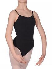 Girls Black Cotton Ballet Dancewear Gym Strap* Leotard Bodysuit AGE 5-13