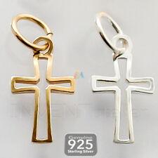 925 Sterling Silver Cross avec Saut Anneau Pendentif Charm Bracelet 17,5 mm Bracelet