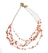 Peach Pink Selenite Cats Eye Bead Rhinestone 5 Strand Invisible Necklace 2x15-18