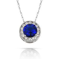 1.90CT Blue Sapphire Round Halo Gemstone Charm Pendant Necklace 14K White Gold
