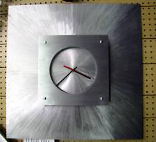 BRUSHED ALUMINIUM SQUARE CONTEMPORARY WALL CLOCK