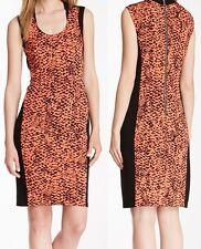 Kenneth Cole Hot Coral Multi Nikoletta Printed Stretch Jersey Panel Dress - $160