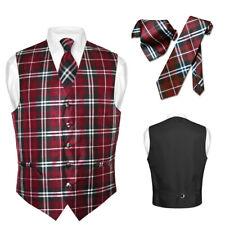 Men's Plaid Design Dress Vest NeckTie Black BURGUNDY White Neck Tie Hanky Set