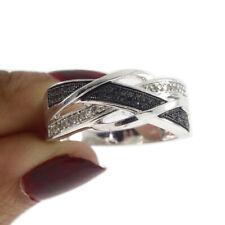 Round Cut Black & D/VVS1 Diamond Infinity Cocktail Ring 18K White Gold Over
