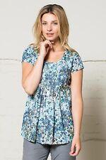 NOMADS Pretty Cotton Floral Print Summer Shirt Blouse Top Blue SCOOP NECK